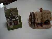 """(2) Lilliput Lane  handpainted miniatures """"Tuck House"""" 1993 and """"Watermill"""" 1985"""