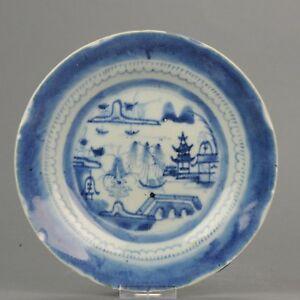 19C Chinese Porcelain Blue White Landscape Canton Plate