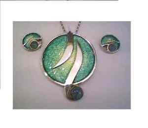 Ortak Silver Zest Green enamel and opal Pendant and earrings set ESP4/ESE9 £230