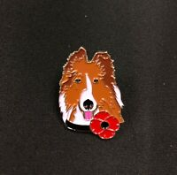 2020 Red Poppy Lest We Forget War Dog Animals Remembrance Day Pin Badge Brooch