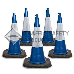 Pack of 5 BLUE - ELITE Traffic Cones 750mm 2 piece BRITISH STANDARD