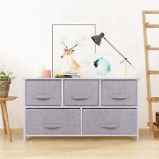 Chest of Drawers Cabinet 2 Layers 5 Drawers Side Table Organiser Home Light Grey
