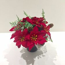 Poinsettia Xmas Artificial Flower Pot & Pine Cones, Cemetery Grave Crem Memorial