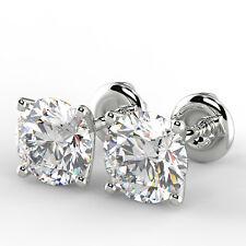 1 Ct Round Cut VS1/E Diamond Stud Earrings 14K White Gold
