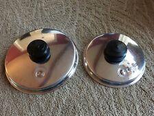 "Vintage Pair Saladmaster Stainless Steel Vapo Lids - Lids Only ~ 7-3/4 & 6-1/4"""