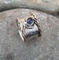 Amethyst Solid 925 Sterling Silver Band Meditation Statement Ring Size M419