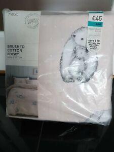 Next Blush Brushed Cotton Polar Bear Print King Duvet Cover 2Pillowcases Bed Set