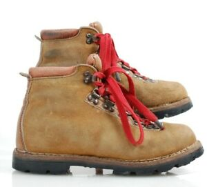 VTG Danner style hiking boots leather suede size Mens 6.5 Women 8 red laces EUC