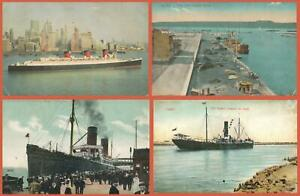 4 x VINTAGE STEAMSHIP POSTCARDS - ALL UNUSED - all ONLY POOR to FAIR Condition