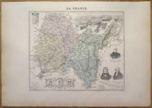 Gravure originale de 1895 - Carte du département de l'Ain