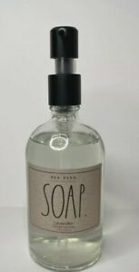 Rae Dunn Hand Soap Lavender Scent with Glass Pump Reusable Dispenser 12 OZ New