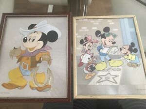 2x Vintage Disney Foil Shiny Framed Pictures Mickey Mouse