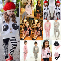Baby Toddler Kids Girls Panda Sequins Tops T-shirt+Striped Bow Pants Clothes