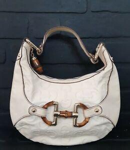 GUCCI Beige/Ebony GG Leather Bamboo Amalfi Small Hobo Bag