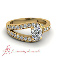 .70 Ct Diamond Split Band Pave Set Ring With Cushion Cut And Round Accents GIA