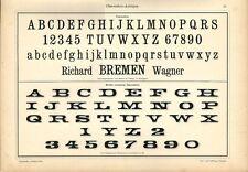 Stampa antica ALFABETI e NUMERI Claredon ANTIQUA 1898 Old Print Alphabet Writing