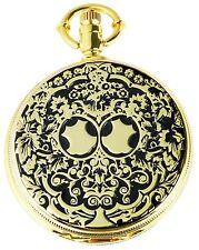 Taschenuhr weiß Gold schwarz Muster Metall analog Quarz D-480402000003600