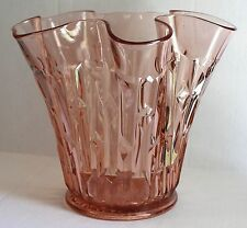 Central Glass Works FRANCES Francis Pink Depression Geometric Vase c.1928