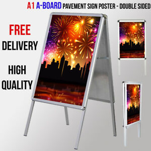 A1 A-Board Pavement Sign -Indoor/Outdoor Poster Display Stand- Double Sided