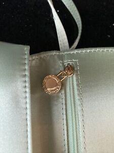 Bvlgari Parfum Satin Evening Bag Clutch Vanity Case Small Handbag — Green