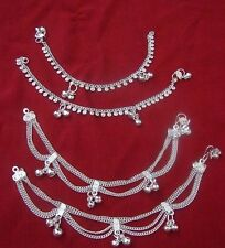 """Child lot 4 silver bells anklet bracelet foot jewelry Belly Dance India gift  7"""""""