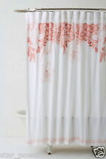 Anthropologie Recoleta Shower Curtain Pink White Feminine Cotton Embroidered NWT