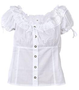 Ramona Lippert® Trachtenbluse Micha, Damen Bluse weiß, Trachtenmieder Mieder