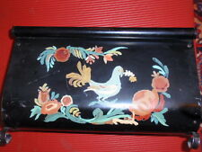 Vintage Toleware Black Magazine Rack Hand Painted Dove And Flowers