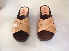 MICHAEL KORS Italian NEW Wood & Leather Cross Strap Shoes ITALY Size 11 M Unworn
