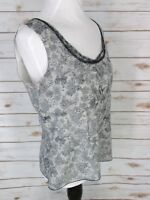 Ann Taylor 10 Silk Tank Top Blouse Shirt Black Lace Print Ivory Career Cocktail
