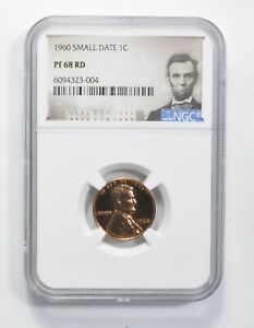 PF68 RD 1960 Lincoln Memorial Cent - SMALL DATE - Graded NGC *797
