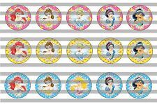 (60) Disney Princeses Bottle Cap Image Pre-Cut 1 inch