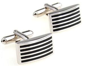 Cufflinks.Direct  Classical & Stylish Hard Wearing Black Stripe Cufflinks