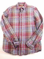 Boston Traders men's size medium flannel plaid button front shirt long sleeve D8
