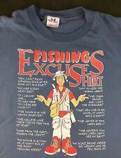 Vintage Mens L 80s 90s Fisherman Angler Fishing Excuses Outdoors Jokes T-Shirt