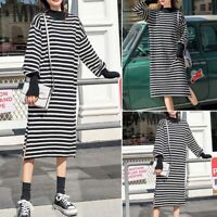 ZANZEA Womens Long Sleeve Striped Midi Shirt Dress Ladies Split Jumper Tunic