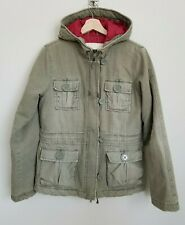 Abercrombie Fitch Hood Jacket Khaki Green Toggle Zip Lined Button Pockets Size L