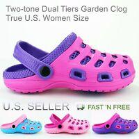 Women's Clogs Garden Shoes Slip-On Mules Two-tone Lightweight Slipper Sandals