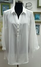EVANS IVORY HALF PLACKET SILVER BUTTON WORK WEAR SHIRT/BLOUSE  SIZES 14 to 32