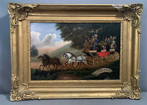 Antique ENGLISH HORSE Drawn COMMERCIAL EDINGURGH CARRIAGE Old FOLK ART PAINTING