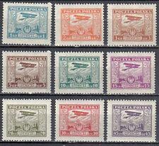 Poland 1925 Air Post Stamps - Biplane - Mi. 224-32  - MNH (**)