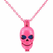 R60 Hot Pink plated Alloy Pearl Cage Short Necklace 27mm Smile Skull Skeleton