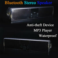 Motorcycle Bluetooth FM Radio Audio System Stereo Speakers MP3 USB APP LED Light