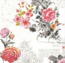 2 Serviettes en papier Decor Fleuri Decoupage Paper Napkins Royal Rose