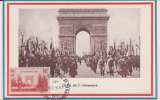 CARTE MAXIMUM ARC DE TRIOMPHE OBLITERE 11 NOVEMBRE 1938 YT 408 DEFILE