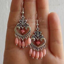 Pink Coral Earrings Chandelier Natural 925 sterling silver Cute Jewelry Tibetan