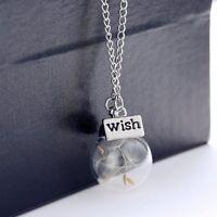 DIY Handmade Unique Silver Dandelion Glass Lucky Wish Bottle Necklace Jewellery