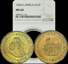 1964 South Africa Cent NGC BU MS 66 Color Toned Coin Only 10 Graded Higher