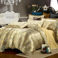 4 pcs Gold Jacquard Silk Bedding Sets Queen King Size Luxury Duvet Cover Set