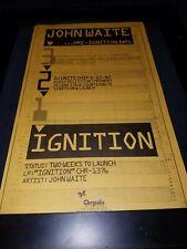 John Waite Ignition Rare Original Radio Promo Poster Ad Framed!